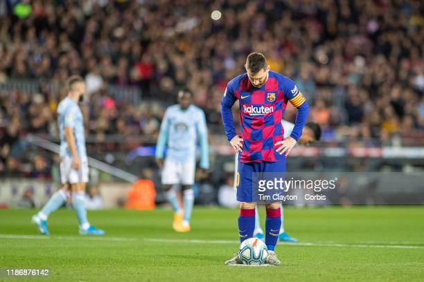 November 9: Lionel Messi of Barcelona lines up the penalty kick to score the first of his hat trick of goals during the Barcelona V Celta Vigo, La...