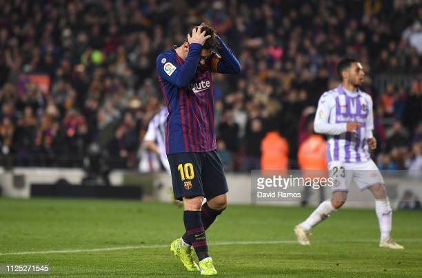 Lionel Messi of Barcelona looks dejected after missing a penalty during the La Liga match between FC Barcelona and Real Valladolid CF at Camp Nou on...