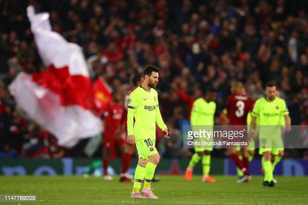 Lionel Messi of Barcelona looks dejected as he leaves the field following the UEFA Champions League Semi Final second leg match between Liverpool and...