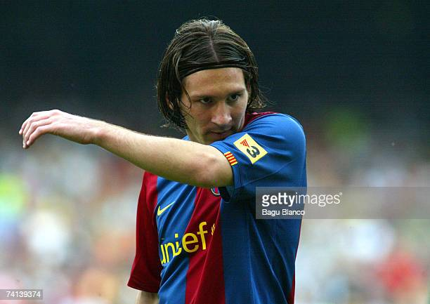 Lionel Messi of Barcelona looks dejected during the La Liga match between FC Barcelona and Real Betis at the Camp Nou on May 13 2007 in Barcelona...