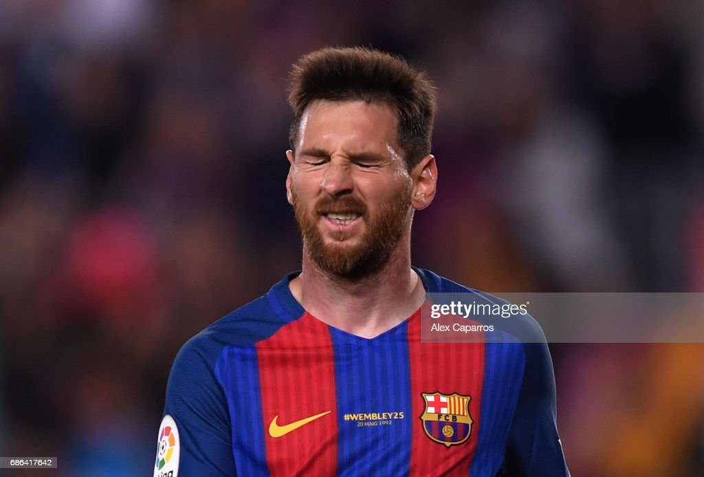 Lionel Messi of Barcelona looks dejected during the La Liga match between Barcelona and Eibar at Camp Nou on 21 May, 2017 in Barcelona, Spain.