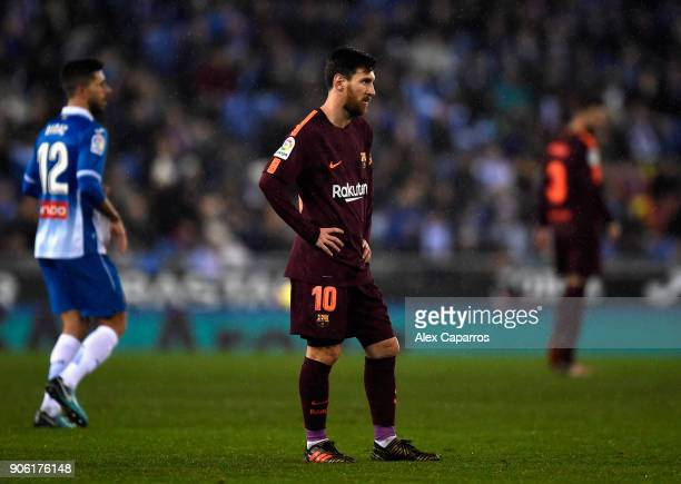 Lionel Messi of Barcelona looks dejected during the Spanish Copa del Rey Quarter Final First Leg match between Espanyol and Barcelona at Nuevo...