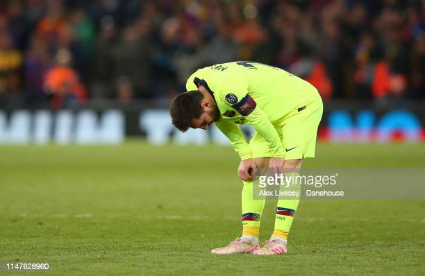 Lionel Messi of Barcelona looks dejected during the UEFA Champions League Semi Final second leg match between Liverpool and Barcelona at Anfield on...