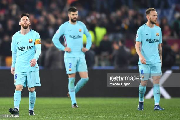 Lionel Messi of Barcelona looks dejected during the UEFA Champions League Quarter Final Second Leg match between AS Roma and FC Barcelona at Stadio...