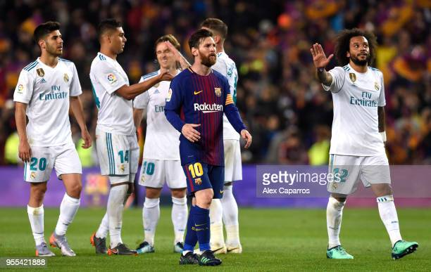 Lionel Messi of Barcelona looks on after the La Liga match between Barcelona and Real Madrid at Camp Nou on May 6 2018 in Barcelona Spain