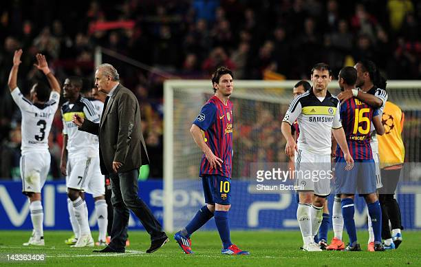Lionel Messi of Barcelona looks on at the final whistle during the UEFA Champions League Semi Final second leg match between FC Barcelona and Chelsea...