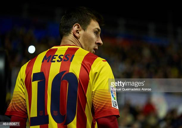 Lionel Messi of Barcelona looks on during the Copa del Rey Quarter Final First Leg match between Levante UD and FC Barcelona at Ciutat de Valencia on...