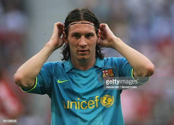 Lionel Messi of Barcelona looks on during the Franz Beckenbauer Cup match between Bayern Munich and Barcelona at the Allianz Arena on August 15 2007...