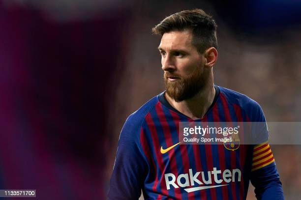 Lionel Messi of Barcelona looks on during the La Liga match between Real Madrid CF and FC Barcelona at Estadio Santiago Bernabeu on March 02, 2019 in...