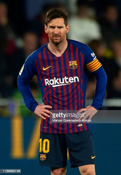 Lionel Messi of Barcelona looks on during the La Liga match between Villarreal CF and FC Barcelona at Estadio de la Ceramica on April 02 2019 in...