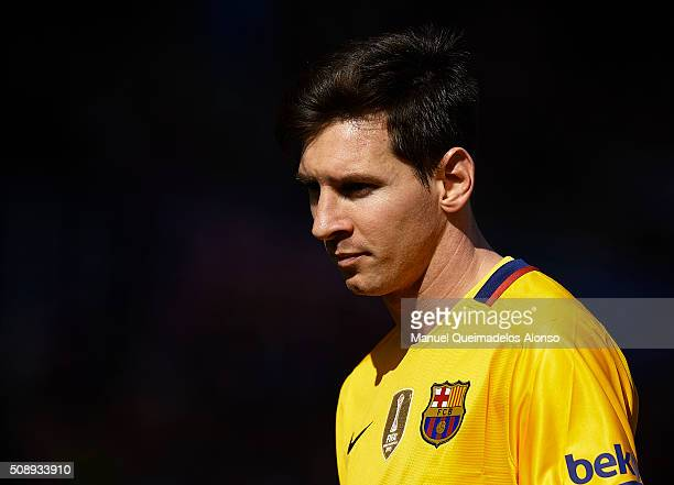 Lionel Messi of Barcelona looks on during the La Liga match between Levante UD and FC Barcelona at Ciutat de Valencia on February 07 2016 in Valencia...
