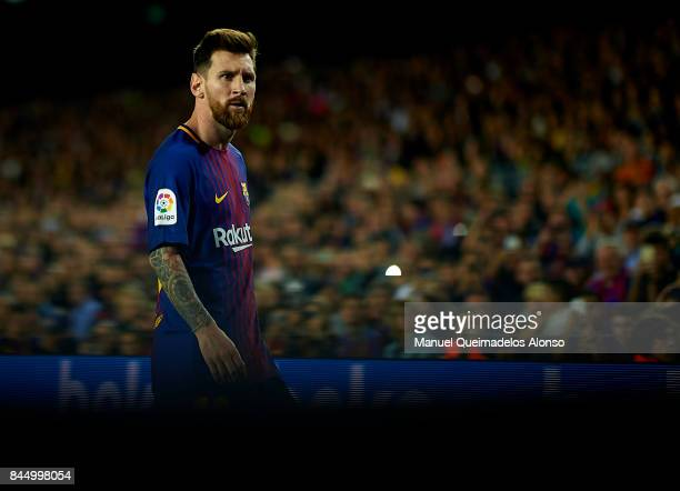 Lionel Messi of Barcelona looks on during the La Liga match between Barcelona and Espanyol at Camp Nou on September 9 2017 in Barcelona Spain