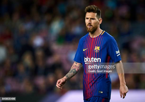 Lionel Messi of Barcelona looks on during the La Liga match between Barcelona and Eibar at Camp Nou on September 19 2017 in Barcelona Spain