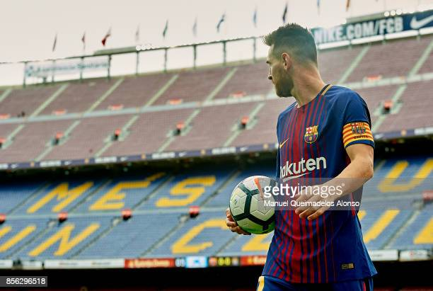 Lionel Messi of Barcelona looks on during the La Liga match between Barcelona and Las Palmas at Camp Nou on October 1 2017 in Barcelona Spain