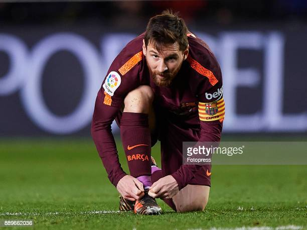 Lionel Messi of Barcelona looks on during the La Liga match between Villarreal and Barcelona at Estadio La Ceramica on December 10 2017 in Villarreal...