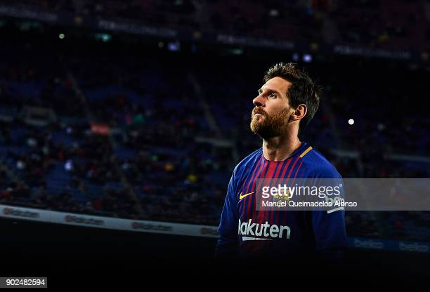 Lionel Messi of Barcelona looks on during the La Liga match between Barcelona and Levante at Camp Nou on January 7 2018 in Barcelona Spain