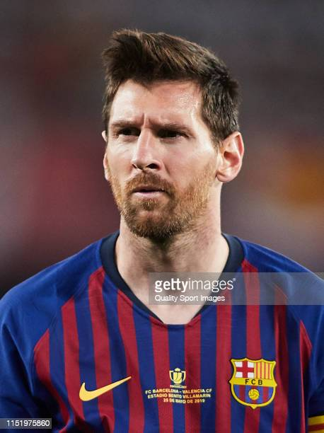 Lionel Messi of Barcelona looks on during the Spanish Copa del Rey Final match between Barcelona and Valencia at Estadio Benito Villamarin on May 25...