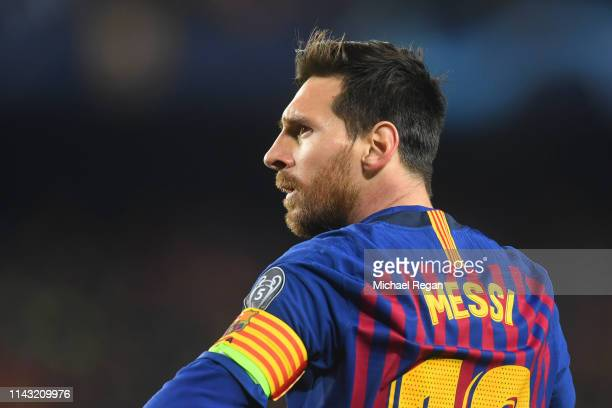 Lionel Messi of Barcelona looks on during the UEFA Champions League Quarter Final second leg match between FC Barcelona and Manchester United at Camp...