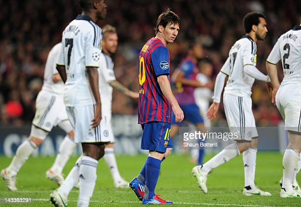 Lionel Messi of Barcelona looks on during the UEFA Champions League Semi Final second leg match between FC Barcelona and Chelsea FC at Camp Nou on...