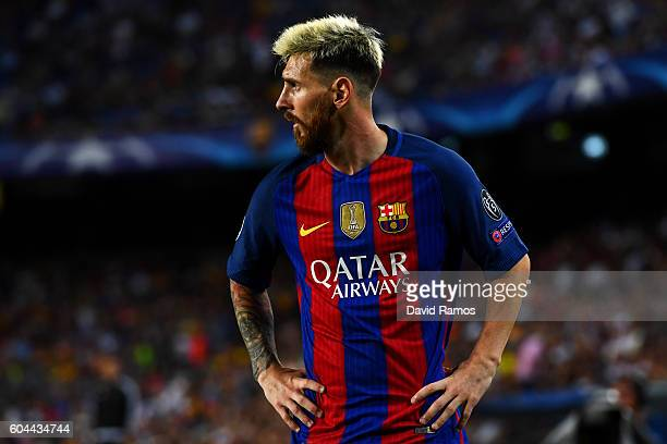 Lionel Messi of Barcelona looks on during the UEFA Champions League Group C match between FC Barcelona and Celtic FC at Camp Nou on September 13 2016...