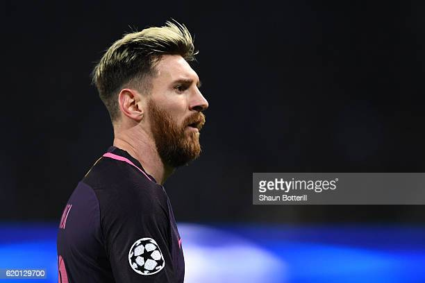 Lionel Messi of Barcelona looks on during the UEFA Champions League Group C match between Manchester City FC and FC Barcelona at Etihad Stadium on...