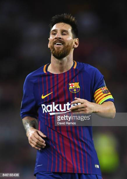 Lionel Messi of Barcelona looks on during the UEFA Champions League Group D match between FC Barcelona and Juventus at Camp Nou on September 12 2017...