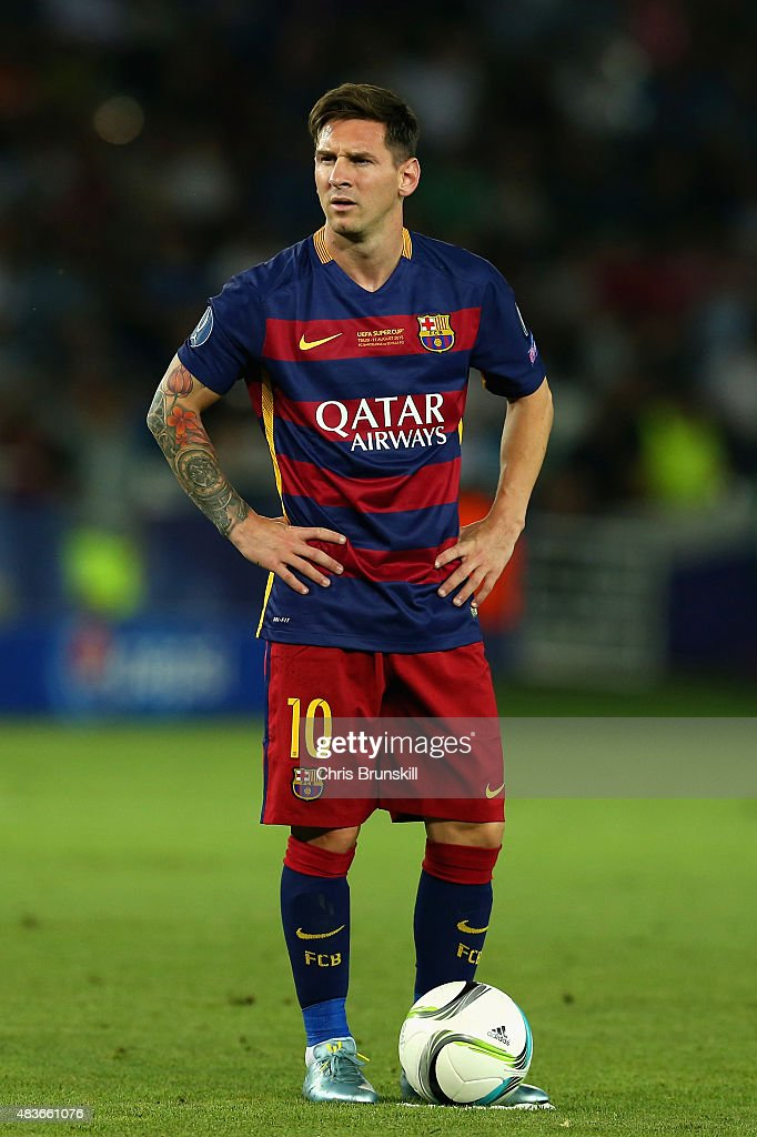 Lionel Messi of Barcelona looks on during the UEFA Super ...