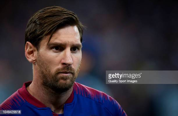 Lionel Messi of Barcelona looks on prior the Group B match of the UEFA Champions League between Tottenham Hotspur and FC Barcelona at Wembley Stadium...
