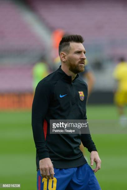 Lionel Messi of Barcelona looks on prior the La Liga match between Barcelona and Las Palmas at Camp Nou on October 1 2017 in Barcelona Spain