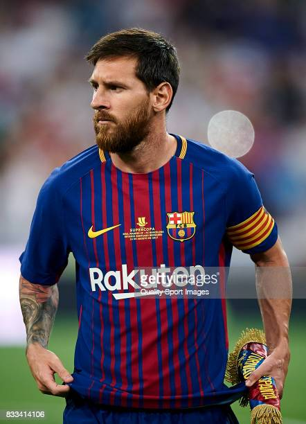 Lionel Messi of Barcelona looks on prior the Supercopa de Espana Supercopa Final 2nd Leg match between Real Madrid and FC Barcelona at Estadio...