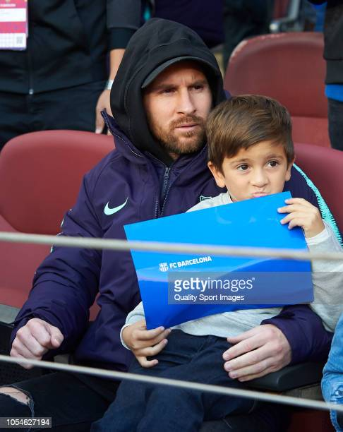 Lionel Messi of Barcelona looks on prior to the La Liga match between FC Barcelona and Real Madrid CF at Camp Nou on October 28 2018 in Barcelona...