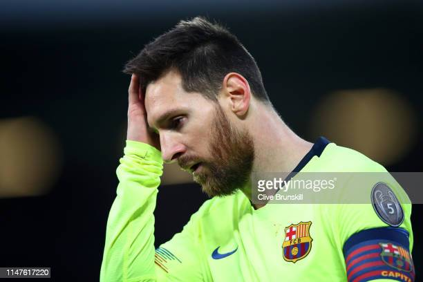 Lionel Messi of Barcelona looks thoughtful during the UEFA Champions League Semi Final second leg match between Liverpool and Barcelona at Anfield on...