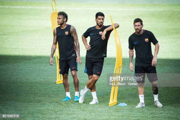 Lionel Messi of Barcelona Luis Suarez of Barcelona and Neymar of Barcelona during the International Champions Cup FC Barcelona training session prior...