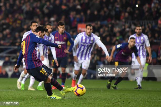 Lionel Messi of Barcelona misses a penalty during the La Liga match between FC Barcelona and Real Valladolid CF at Camp Nou on February 16 2019 in...