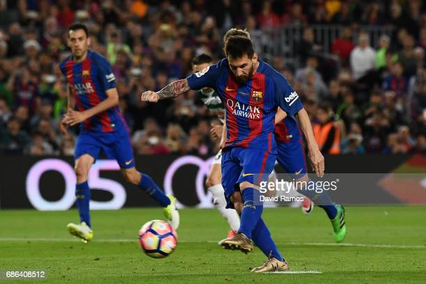 Lionel Messi of Barcelona misses a penalty during the La Liga match between Barcelona and Eibar at Camp Nou on 21 May 2017 in Barcelona Spain