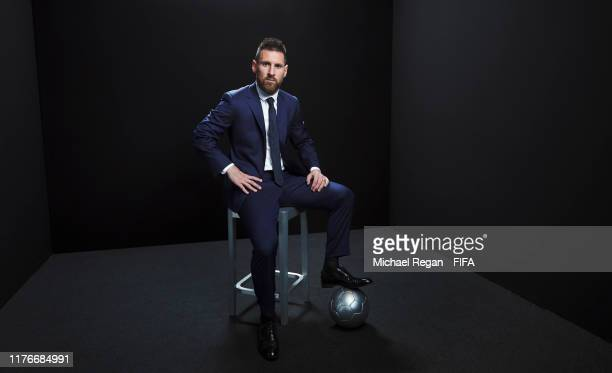 Lionel Messi of Barcelona poses for a portrait in the photo booth prior to The Best FIFA Football Awards 2019 at Excelsior Hotel Gallia on September...
