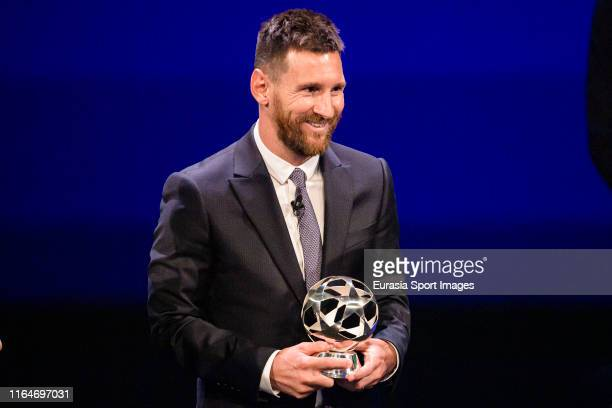 Lionel Messi of Barcelona poses with the trophy of best Forward during the Kick-Off 2019/2020 - UEFA Champions League Draw on August 29, 2019 in...
