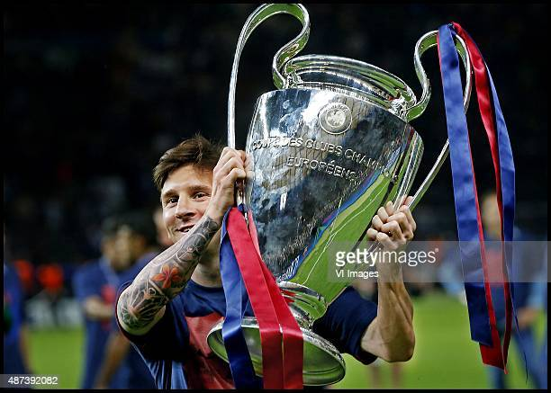 Lionel Messi of Barcelona posing with the Cup during the UEFA Champions League final match between Barcelona and Juventus on June 6 2015 at the...