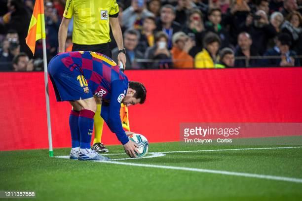 March 7: Lionel Messi of Barcelona prepares to take a corner kick during the Barcelona V Real Sociedad, La Liga regular season match at Estadio Camp...