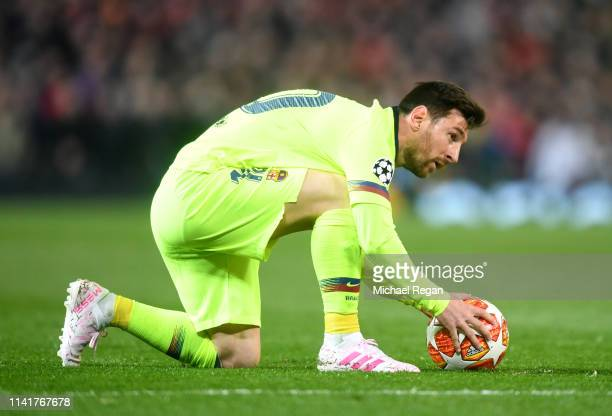 Lionel Messi of Barcelona prepares to take a free-kick during the UEFA Champions League Quarter Final first leg match between Manchester United and...