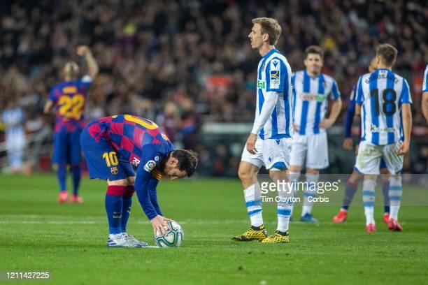 March 7: Lionel Messi of Barcelona prepares to take a penalty kick during the Barcelona V Real Sociedad, La Liga regular season match at Estadio Camp...