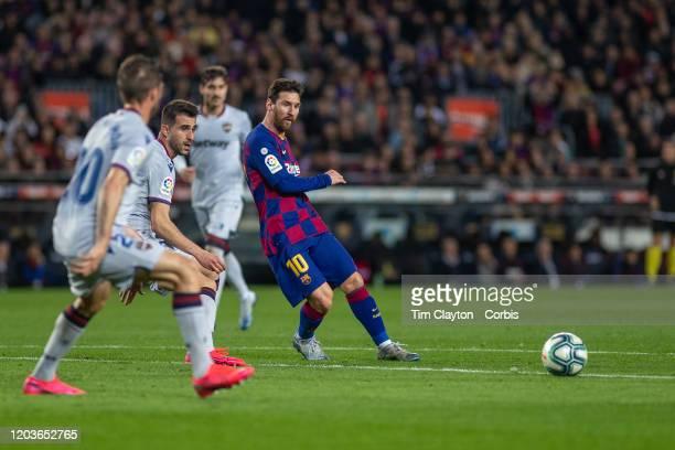 Lionel Messi of Barcelona provides the assist for Ansu Fati of Barcelona to score his second goal during the Barcelona V Levante La Liga regular...