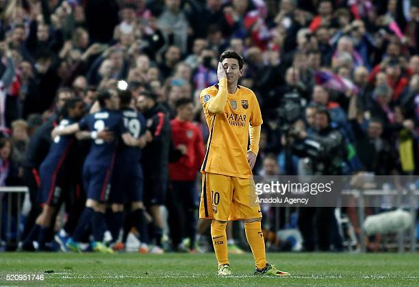 Lionel Messi of Barcelona reacts after loosing the UEFA Champions League quarter final second leg match between Club Atletico de Madrid and FC...