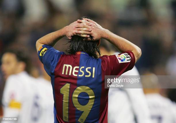 Lionel Messi of Barcelona reacts after missing a chance to score during the Primera Liga match between Real Zaragoza and Barcelona at the Romareda...