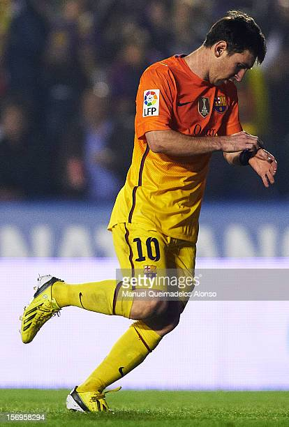 Lionel Messi of Barcelona reacts after scoring during the la Liga match between Levante UD and FC Barcelona at Ciutat de Valencia on November 25 2012...