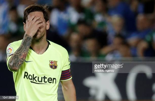 Lionel Messi of Barcelona reacts after the La Liga football match between Leganes and FC Barcelona at the Estadio Municipal Butarque in Madrid Spain...
