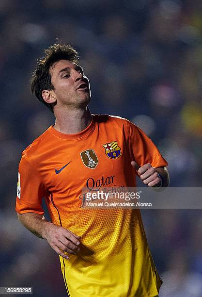 Lionel Messi of Barcelona reacts as he fails to score during the la Liga match between Levante UD and FC Barcelona at Ciutat de Valencia on November...