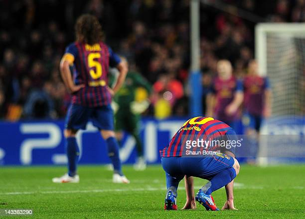 Lionel Messi of Barcelona reacts at the final whistle during the UEFA Champions League Semi Final second leg match between FC Barcelona and Chelsea...