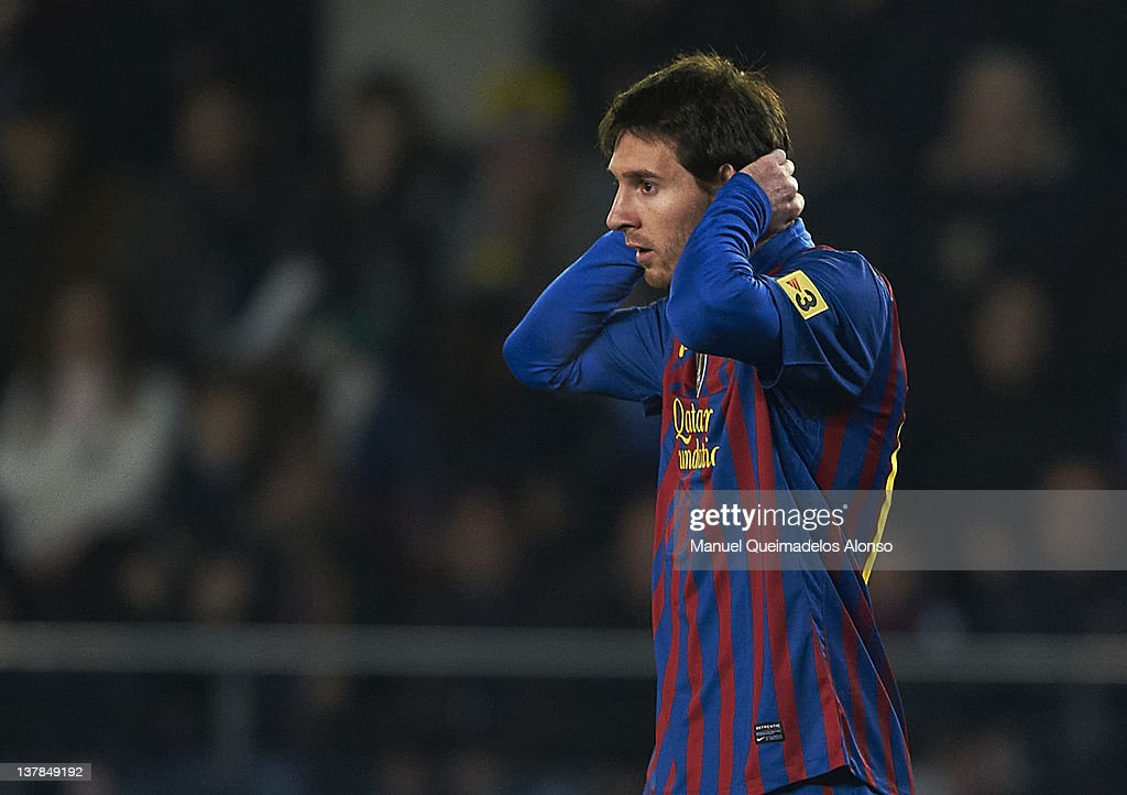 Lionel Messi of Barcelona reacts during the la Liga match between Villarreal and Barcelona at El Madrigal on January 28, 2012 in Villarreal, Spain.