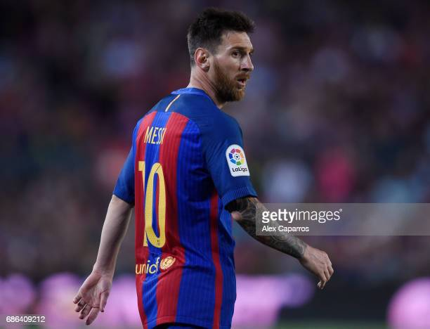 Lionel Messi of Barcelona reacts during the La Liga match between Barcelona and Eibar at Camp Nou on 21 May 2017 in Barcelona Spain